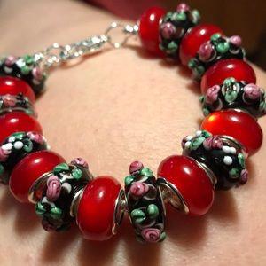 Jewelry - Murano beads on silver bracelet